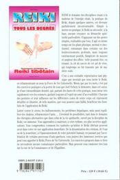 Reiki - Rituels Et Symboles. Reiki Tibetain - 4ème de couverture - Format classique