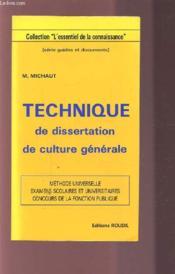 Technique Dissertation De Culture Generale - Couverture - Format classique