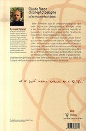 Claude simon chronophotographe ou les onomatopées du temps - 4ème de couverture - Format classique