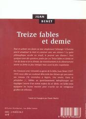 Treize Fables Et Demie - 4ème de couverture - Format classique