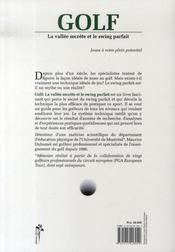 Golf ; la vallée secrète et le swing parfait - 4ème de couverture - Format classique