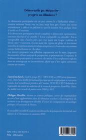 Démocratie participative ; progrès ou illusions ? - 4ème de couverture - Format classique