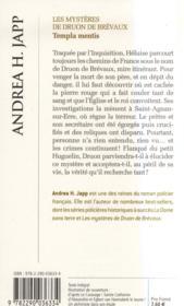 Templa mentis ; les mystères de Druon de Brevaux - 4ème de couverture - Format classique