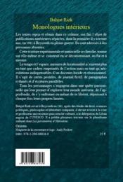 Monologues intérieurs - 4ème de couverture - Format classique