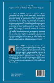 Reforme de l'OHADA et les procédures collectives d'apurement du passif - 4ème de couverture - Format classique
