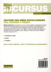 Histoire des idées sociologiques t.1 ; des origines à Weber (4e edition) - 4ème de couverture - Format classique