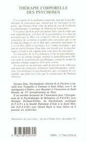 Therapie Corporelle Des Psychoses - 4ème de couverture - Format classique