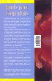Diagnostics Prenatals Et Biologie Moleculaire - 4ème de couverture - Format classique
