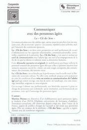 Communiquer Avec Des Personnes Agees 3e Edition - 4ème de couverture - Format classique
