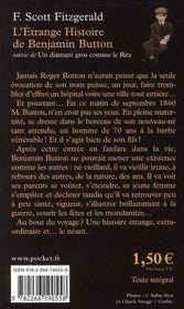 L'étrange histoire de Benjamin Button : Suivie de Un diamant gros comme le Ritz - 4ème de couverture - Format classique