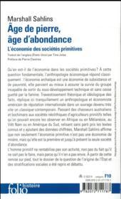 Âge de pierre, âge d'abondance ; l'économie des sociétés primitives - 4ème de couverture - Format classique