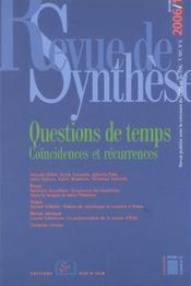 Revue De Synthese N.127 ; Questions De Temps ; Coincïdences Et Récurrences - Intérieur - Format classique