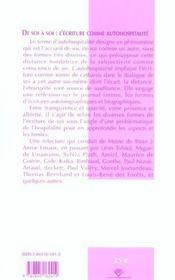 De soi à soi : l'écriture comme autohospitalité - 4ème de couverture - Format classique