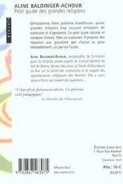 Petit Guide Des Religions - 4ème de couverture - Format classique