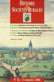 Revue Histoire Et Societes Rurales T.26 - Couverture - Format classique