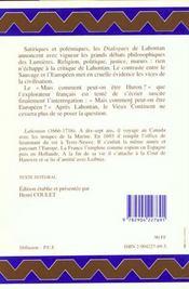 Dialogues De M.Le Baron De Lahontan Et D'Un Sauvage - 4ème de couverture - Format classique