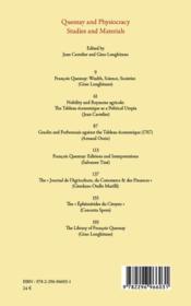 Cahiers D'Economie Politique ; Quesnay And Physiocracy ; Studies And Materials - 4ème de couverture - Format classique