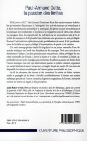 Paul-Armand Gette, la passion des limites - 4ème de couverture - Format classique