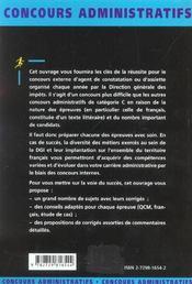 Agent De Constatation Ou D'Assiette Des Impots Categorie C Nouvelle Edition Concours Externe - 4ème de couverture - Format classique