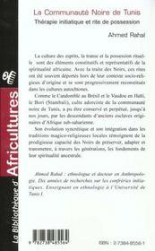 La communauté noire de Tunis ; thérapie initiatique et rite de possession - 4ème de couverture - Format classique