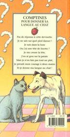 Comptines pour donner sa langue au chat - 4ème de couverture - Format classique