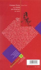 George Sand, La Femme Qui Ecrivait La Nuit - 4ème de couverture - Format classique