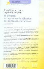 Je maîtrise les tests psychotechniques ; se préparer aux épreuves de sélection des concours et examens - 4ème de couverture - Format classique