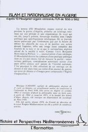 Islam Et Nationalisme En Algerie - 4ème de couverture - Format classique
