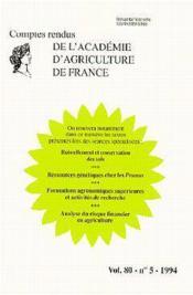 Ruissellement conservation des sols ressources genetiques chez les prunus ; formations agronomiques - Couverture - Format classique