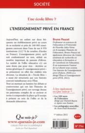 L'enseignement privé en France - 4ème de couverture - Format classique
