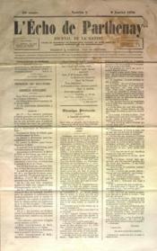 Echo De Parthenay (L') N°2 du 09/01/1870 - Couverture - Format classique