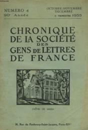 CHRONIQUE DE LA SOCIETE DES GENS DE LETTRES DE FRANCE N°4, 90e ANNEE ( 4e TRIMESTRE 1955) - Couverture - Format classique
