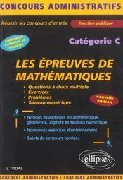 Les Epreuves De Mathematiques Categorie C Nouvelle Edition - Intérieur - Format classique