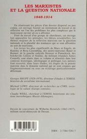 Les marxistes et la question nationale, 1848-1914 - 4ème de couverture - Format classique