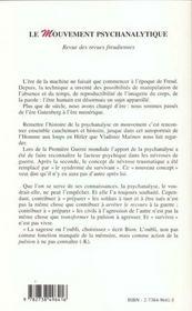 Revue Des Revues Freudiennes Vol.3 N.1 ; Le Mouvement Psychanalytique - 4ème de couverture - Format classique