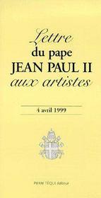 Lettre du pape Jean Paul aux artistes ; 4 avril 1999 - Couverture - Format classique