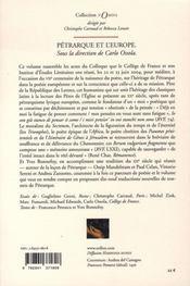 Pétrarque et l'europe - 4ème de couverture - Format classique