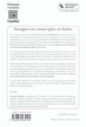 Enseigner Avec Aisance Grace Au Theatre 2e Edition (2e édition) - 4ème de couverture - Format classique