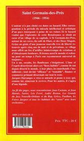 Saint germain-des-prés (1946-1954) - 4ème de couverture - Format classique