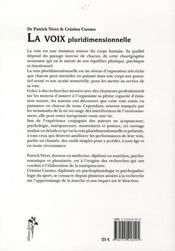 La voix pluridimensionnelle - 4ème de couverture - Format classique