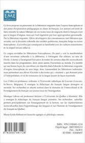 La littérature migrante dans l'espace francophone ; Belgique - France - Québec - Suisse - Couverture - Format classique