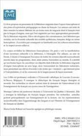 La littérature migrante dans l'espace francophone ; Belgique - France - Québec - Suisse - 4ème de couverture - Format classique