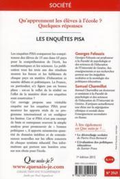 Les enquêtes Pisa - 4ème de couverture - Format classique