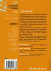 Le paysage (2e édition) - 4ème de couverture - Format classique
