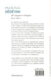 De tempête et d'espoir t.1 ; Saint-Malo - 4ème de couverture - Format classique