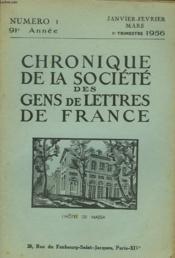 CHRONIQUE DE LA SOCIETE DES GENS DE LETTRES DE FRANCE N°1, 91e ANNEE ( 1er TRIMESTRE 1956) - Couverture - Format classique