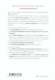 Manuel Pratique Des Urgences - 4ème de couverture - Format classique