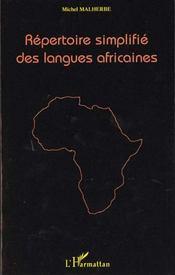 Repertoire Simplifie Des Langues Africaines - Intérieur - Format classique