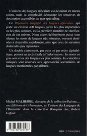 Repertoire Simplifie Des Langues Africaines - 4ème de couverture - Format classique