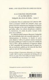 À la colonie disciplinaire ; et autres récits t.2 - 4ème de couverture - Format classique